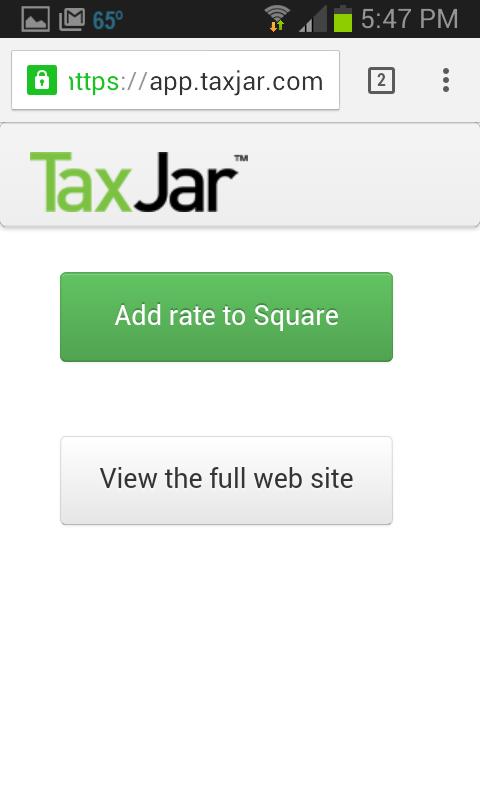 Add Tax Rate to Square TaxJar