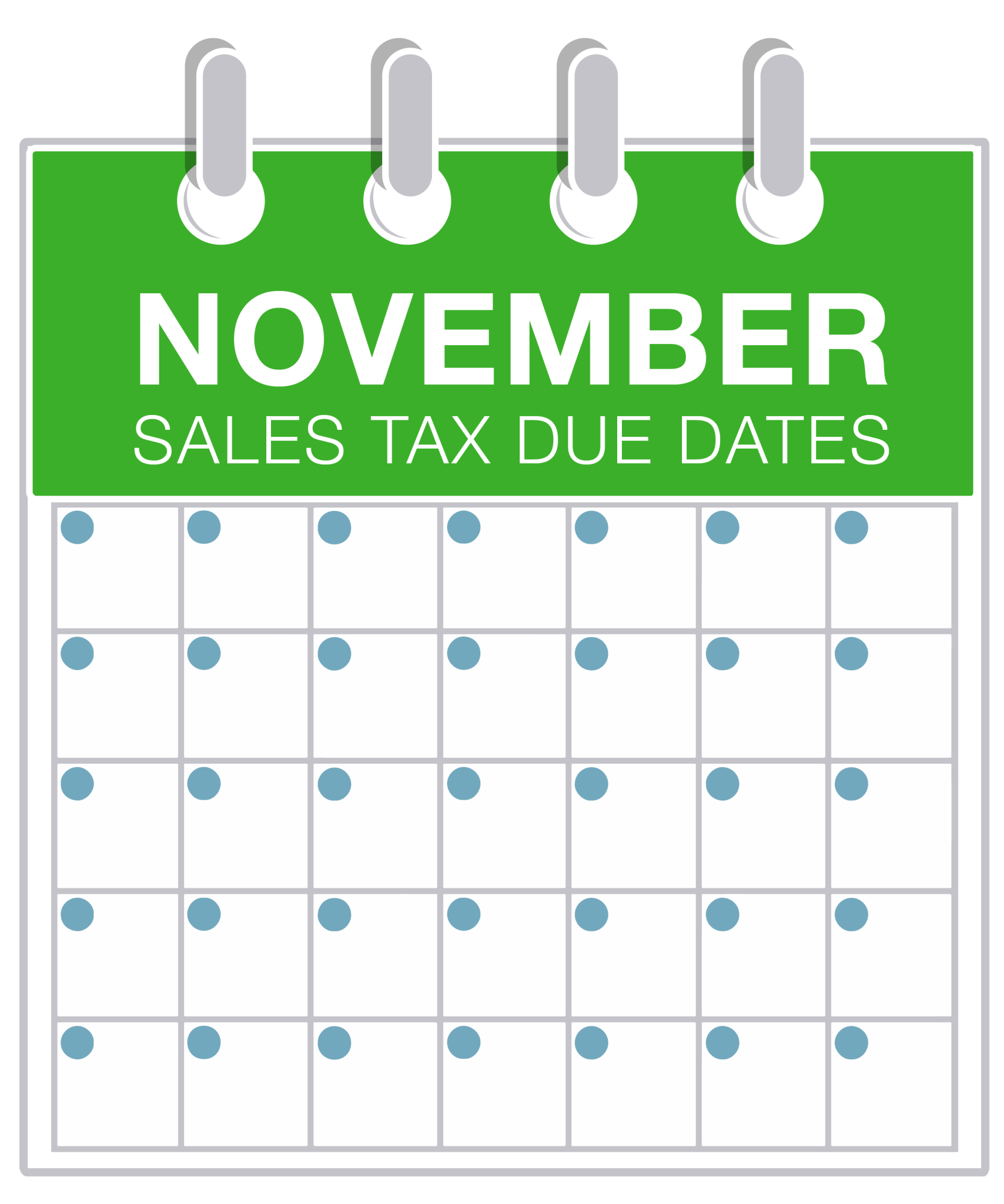 November Sales Tax Due Dates 2016