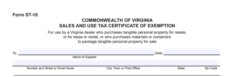 Virginia resale certificate ST-10
