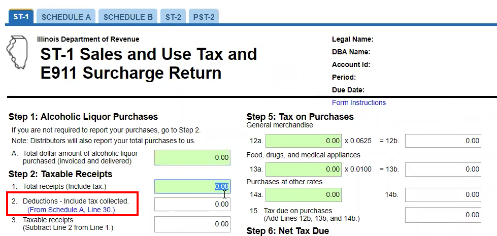 How to enter deductions on your Illinois sales tax return